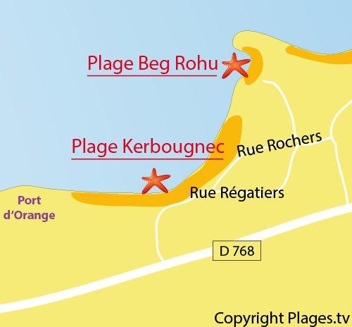 Carte de la plage de Kerbourgnec à St Pierre Quiberon