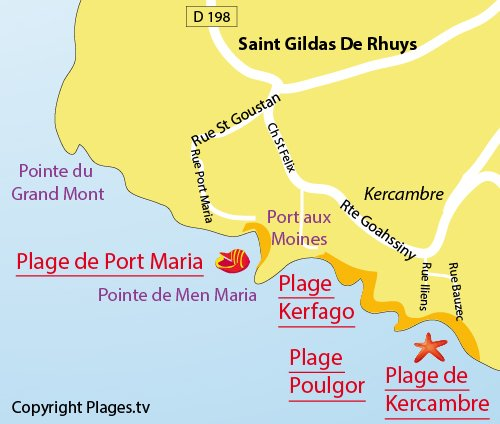 Carte de la plage de Kercambre à Saint Gildas de Rhuys