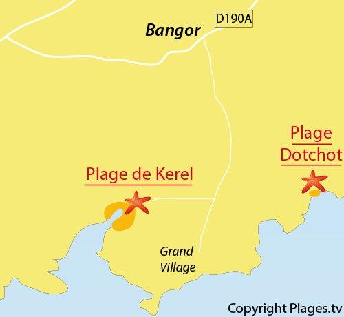 Carte de la plage de Kerel à Belle Ile en Mer - Bretagne