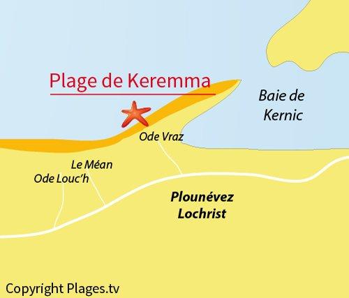 Carte de la plage de Keremma en Bretagne - Finistère