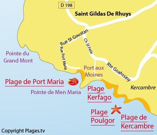 Plan de la plage de Kerfago à St Gildas de Rhuys