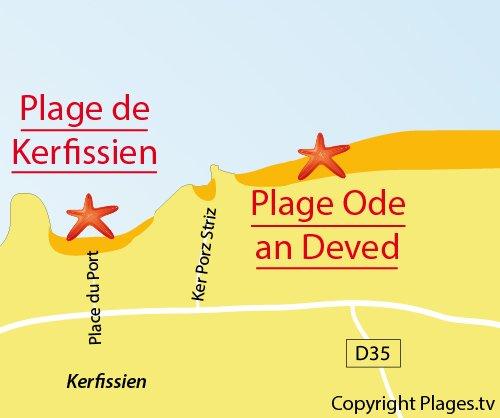 Map of Kerfissien Beach in Cléder