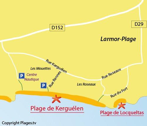 Carte de la plage de Kerguélen à Larmor-Plage