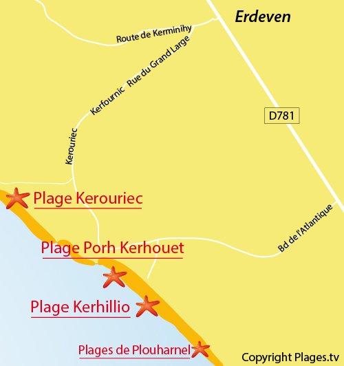 Carte de la plage de Kerhillio à Erdeven
