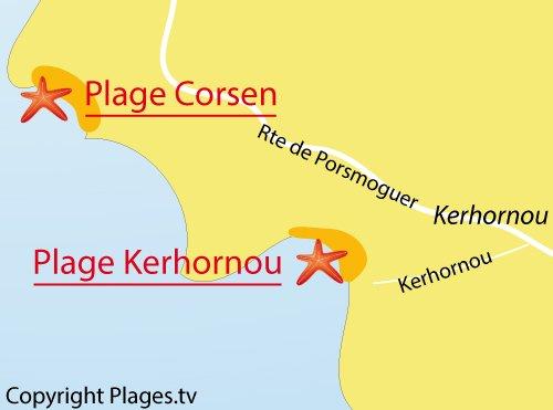 Carte de la plage de Kerhornou à Kerhornou en Bretagne