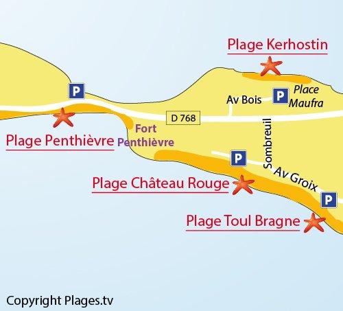 Carte de plage de Kerhostin de St Pierre de Quiberon