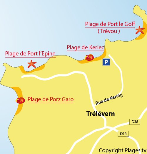 Carte de la plage de Kerieg à Trélévern