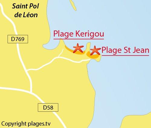Carte de la plage de Kerigou à St Pol de Léon