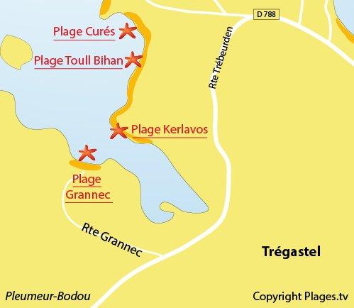 Map of Kerlavos Beach in Trégastel