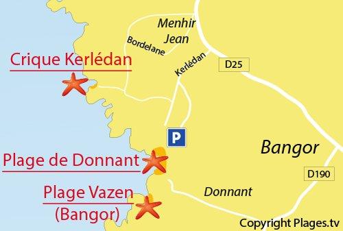 Carte de la plage de Kerlédan à Sauzon
