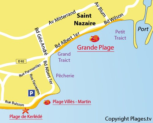 Map of Kerlédé Beach in St Nazaire
