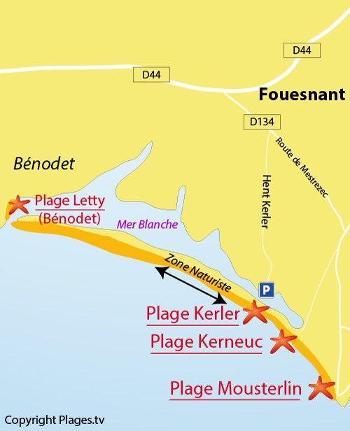 Carte de la plage de Kerler à Flouesnant