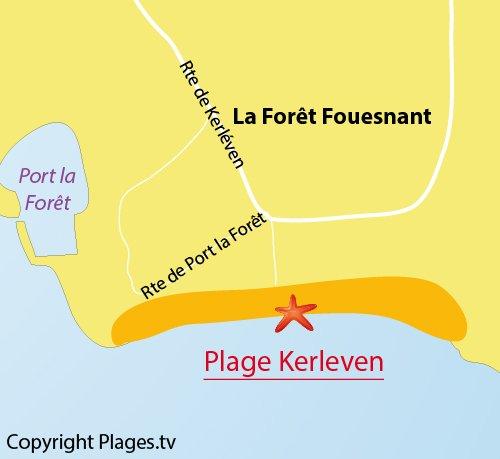 Carte de la plage de Kerleven à La Forêt Fouesnant
