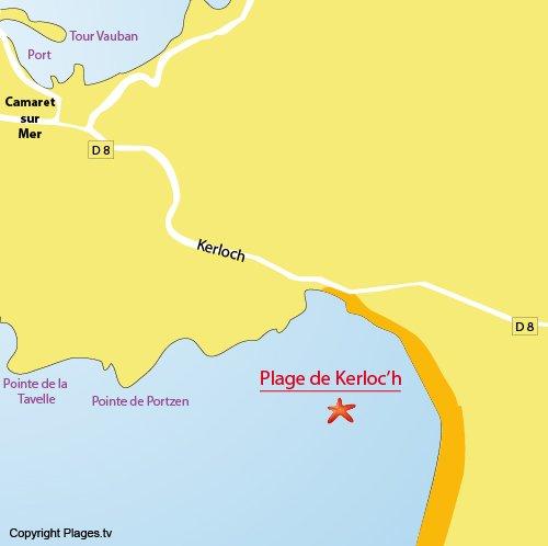 Carte de la plage de Kerloc'h à Camaret sur Mer