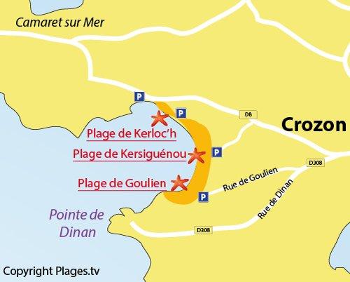 Carte de la plage de Kerloc'h à Crozon
