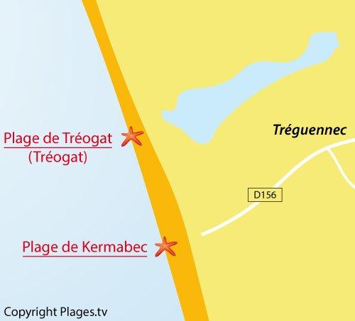 Carte de la plage de Kermabec à Tréguennec