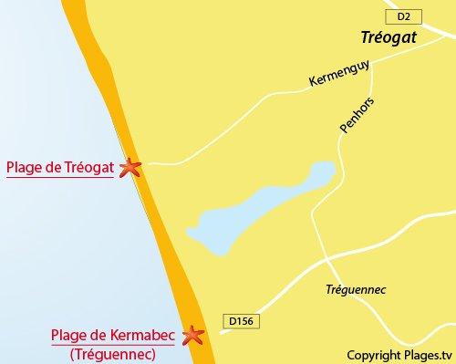 Carte de la plage de Kermenguy de Tréogat en Bretagne