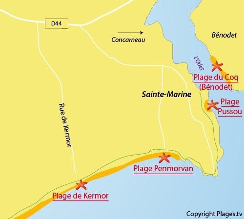 Carte de la plage de Kermor à Combrit - Sainte Marine