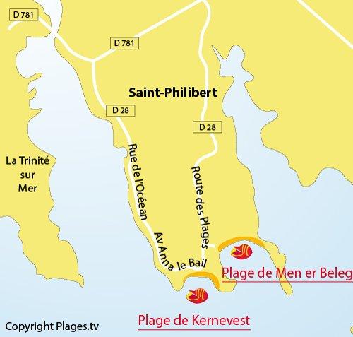 Carte de la plage de Kernevest à Saint Philibert