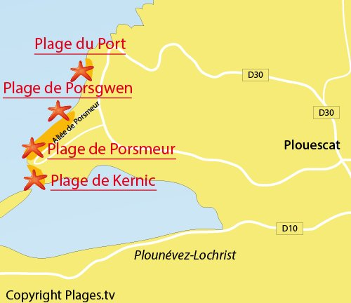 Carte de la plage de Kernic à Plouescat