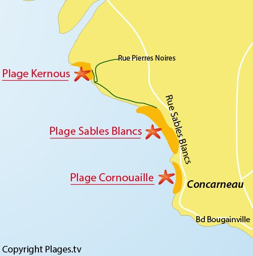 Map of Kernous Beach in Concarneau