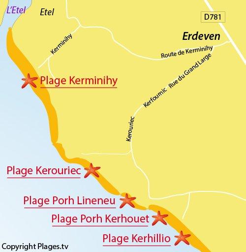 Map of Kerouriec Beach in Erdeven
