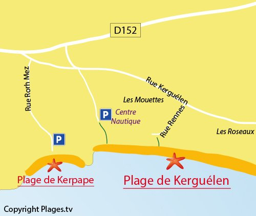 Map of Kerpape Beach in Larmor-Plage