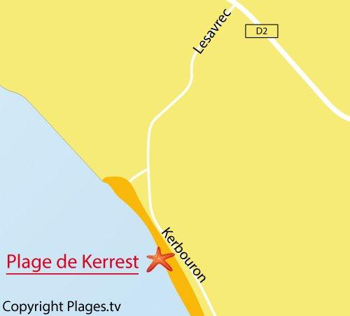 Carte de la plage de Kerrest à Plozévet - Bretagne