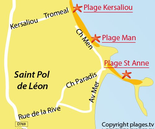 Carte de la plage de Kersaliou à St Pol de Léon