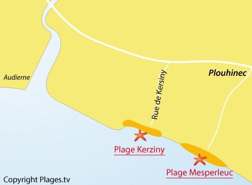 Carte de la plage de Kerziny à Plouhinec