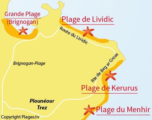Carte de la plage de Kerurus à Plounéour Trez