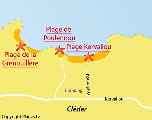 Carte de la plage de Kervaliou à Cléder