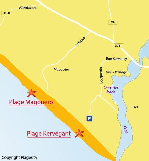 Carte de la plage de Kervégant de Plouhinec