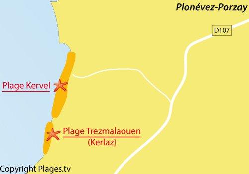 Carte de la plage de Kervel à Plonévez-Porzay