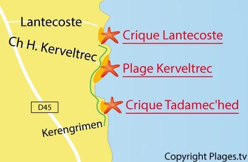 Carte de la plage de Kerveltrec de Fouesnant