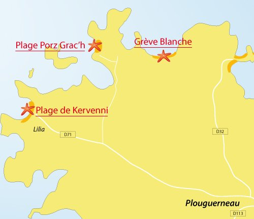 Carte de la plage de Kervenni à Plouguerneau