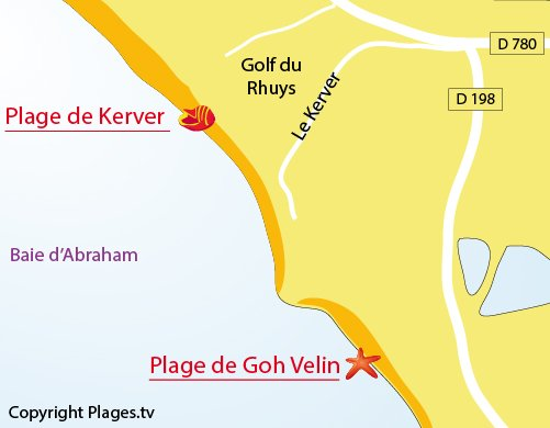 Plan de la plage de Kerver à St Gildas de Rhuys