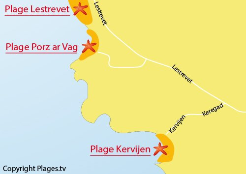 Carte de la plage de Kervijen à Plomodiern