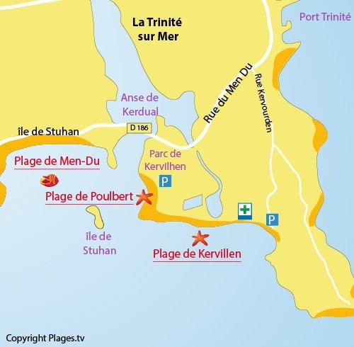 Map of Kervillen Beach in La Trinité sur Mer