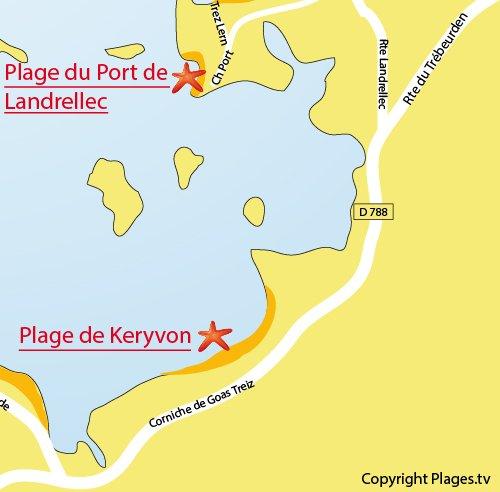 Carte de la plage de Keryvon à Pleumeur Bodou