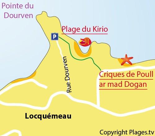 Plan de la plage de Kiriou à Locquémeau