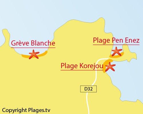 Carte de la plage de Korejou à Plouguerneau