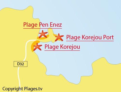 Carte des plages dans le port de Korejou à Plouguerneau