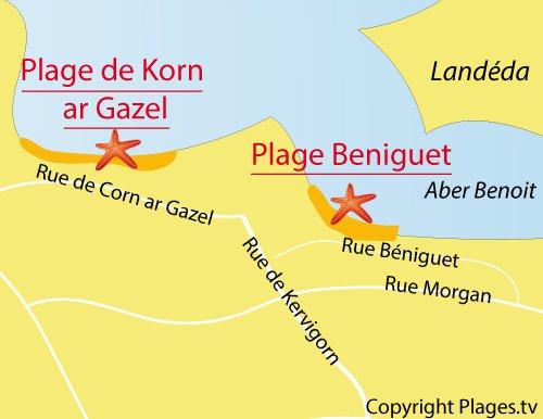 Carte de la plage de Korn ar Gazel à Saint Pabu