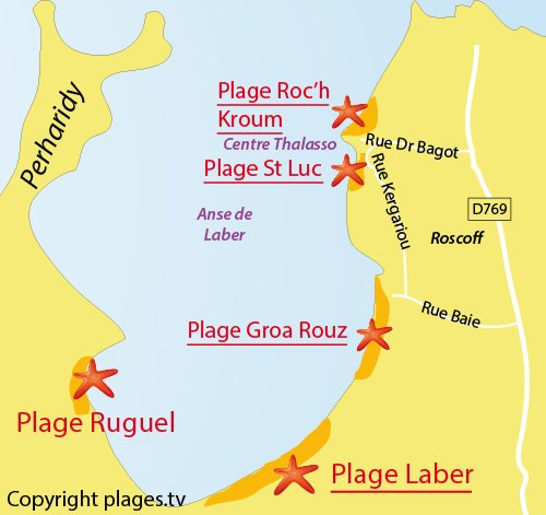 Map of Laber Beach in Roscoff