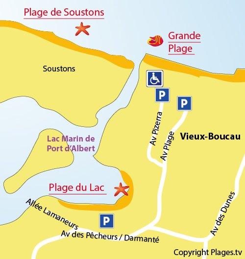 Plan de la plage du lac marin de Vieux Boucau