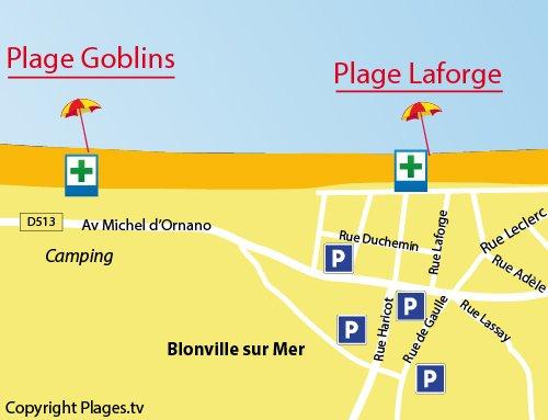 Carte de la plage Laforge de Blonville sur Mer