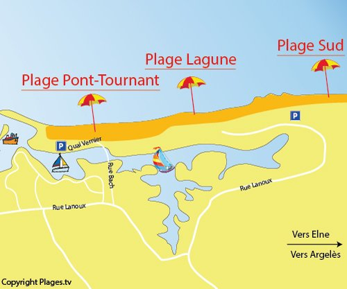 Map of Lagune Beach in Saint Cyprien