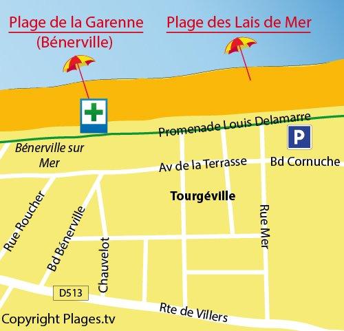Plan de la plage des Lais de Mer de Tourgéville
