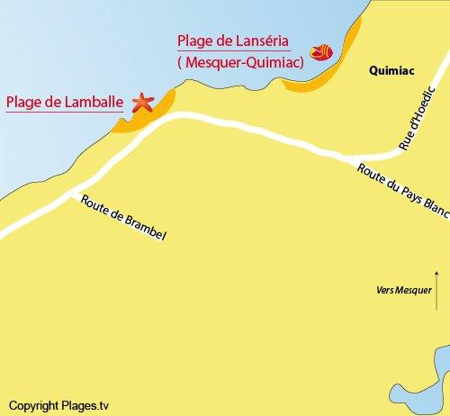 Map of Lamballe Beach in Piriac sur Mer